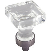 Harlow Collection 1'' W Small Glass Square Decorative Cabinet Knob in Brushed Pewter