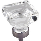 Harlow Collection 1-3/8'' W Large Glass Square Decorative Cabinet Knob in Brushed Pewter