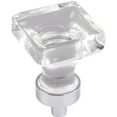 Harlow Collection 1'' W Small Glass Square Decorative Cabinet Knob in Polished Chrome