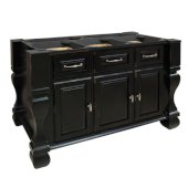 Tuscan Kitchen Island Base, Distressed Black, 52-5/8'' W x 32-3/8'' D x 35-1/4''H