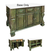 Tuscan Kitchen Island Base, Aqua Green, 52-5/8'' W x 32-3/8'' D x 35-1/4''H