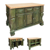 Tuscan Kitchen Island with Hard Maple Butcher Block Top, Aqua Green, 54'' W x 34'' D x 37''H