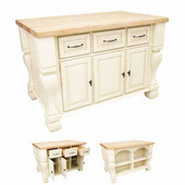 Tuscan Kitchen Island with Hard Maple Butcher Block Top, Antique White, 54'' W x 34'' D x 37''H