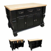 Tuscan Kitchen Island with Hard Maple Butcher Block Top, Distressed Black, 54'' W x 34'' D x 37''H