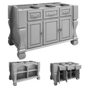 Tuscan Kitchen Island Base Only, Grey, 52-5/8'' W x 32-3/8'' D x 35-1/4''H