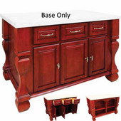 Tuscan Kitchen Island Base, Brilliant Red, 52-5/8'' W x 32-3/8'' D x 35-1/4''H