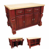 Tuscan Kitchen Island with Hard Maple Butcher Block Top, Brilliant Red, 54'' W x 34'' D x 37''H