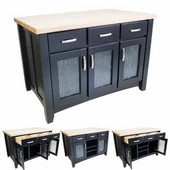 Contemporary Kitchen Island with Hard Maple Butcher Block Top, Distressed Black, 54'' W x 34'' D x 37-1/4''H
