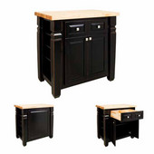 Loft Kitchen Island with Hard Maple Butcher Block Top, Aged Black, 36'' W x 24'' D x 36''H