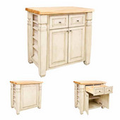 Loft Kitchen Island with Hard Maple Butcher Block Top, French White, 36'' W x 24'' D x 36''H