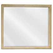 Compton Large Buttercream Reed-Frame Mirror with Beveled Glass, 44''W x 34''H