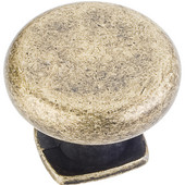 Belcastel 1 Collection 1-3/8'' Diameter Forged Look Flat Bottom Cabinet Knob in Distressed Antique Brass