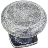 Belcastel 1 Collection 1-3/8'' Diameter Forged Look Flat Bottom Cabinet Knob in Distressed Antique Silver