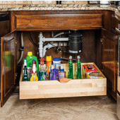 25-1/16''W Rollout Drawer Shelf System, 7''H, Preassembled for 27'' Cabinet Openings, with 21'' Undermount Soft Closing Drawer Slides
