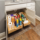 10-1/16''W Vanity High Back Rollout Drawer Shelf System, 9''H, Preassembled for 12'' Openings, with 18'' Undermount Soft Closing Drawer Slides