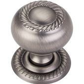 Rhodes Collection 1-1/4'' Diameter Hollow Steel Round Rope Knob with Backplate in Brushed Pewter