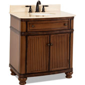 Compton Painted Walnut Bath Elements Vanity with Cream Marble Top & Sink, 32''W x 23''D x 35''H