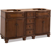 Compton Painted Walnut Bath Elements Double Base Vanity, Base Only, 60-1/2''W x 22-1/2''D x 34-1/4''H