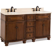 Compton Painted Walnut Bath Elements Double Base Vanity with Cream Marble Top & Sink, 60-1/2''W x 23''D x 35''H