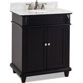 Douglas Painted Black Bathroom Vanity with White Marble Top & Sink, 30''W x 22''D x 36''H