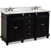Douglas Painted Black Double Base Bathroom Vanity with White Marble Top & Sink, 60''W x 22''D x 36''H
