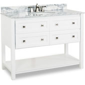 Adler Bath Elements Bathroom Vanity with White Marble Top & Sink, Painted White Finish, 48''W x 22-1/2''D x 36''H