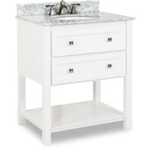 Adler Bath Elements Bathroom Vanity with White Marble Top & Sink, Painted White Finish, 31''W x 22-1/2''D x 36''H