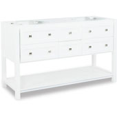 Adler Painted White Bath Elements Double Base Vanity, Base Only, 59''W x 22''D x 35-1/4''H