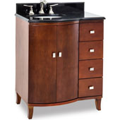 Mahogany Modern Bathroom Vanity with Black Granite Top & Sink, 30''W x 23''D x 36''H