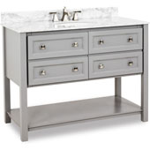 Adler Bath Elements Bathroom Vanity with White Marble Top & Sink, Grey Finish, 48''W x 22-1/2''D x 36'' H