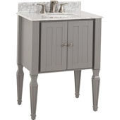Jensen Bath Elements Bathroom Vanity with White Marble Top & Sink, Grey Finish, 28''W x 21''D x 36''H