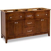 Chatham Shaker Double Vanity, Base Only, Chocolate, 59-11/16''W x 21-7/8''D x 35''H