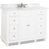 Douglas Painted White Bathroom Vanity with White Marble Top & Sink, 48''W x 22''D x 36''H
