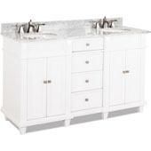 Douglas Painted White Double Base Bathroom Vanity with White Marble Top & Sink, 60''W x 22''D x 36''H