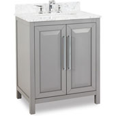 Cade Contempo Vanity with Carerra White Marble Top & Sink, Grey, 30''W x 22''D x 35-3/16''H