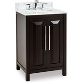 Cade Contempo Vanity with Carerra White Marble Top & Sink, Black, 24''W x 22''D x 35-3/16''H