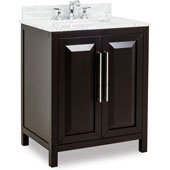 Cade Contempo Vanity with Carerra White Marble Top & Sink, Black, 30''W x 22''D x 35-3/16''H