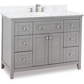 Chatham Shaker Bathroom Vanity with Carrera Marble Top & Sink, Grey, 48''W x 22''D x 36''H