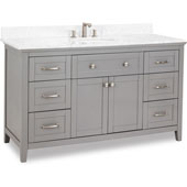 Chatham Shaker Vanity with Carrera Marble Top & Sink, Grey, 60''W x 22''D x 36''H