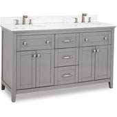 Chatham Shaker Double Vanity with Carrera Marble Top & Sinks, Grey, 60''W x 22''D x 36''H