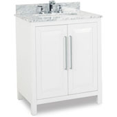 Cade Contempo Vanity with Carerra White Marble Top & Sink, White, 30''W x 22''D x 35-3/16''H