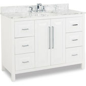 Cade Contempo Bathroom Vanity with Carerra White Marble Top & Sink, Painted White, 48''W x 22''D x 36''H