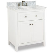 Chatham Shaker Bathroom Vanity with Carerra White Marble Top & Sink, Painted White, 30''W x 22''D x 36''H