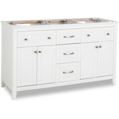 Chatham Shaker Double Vanity, Base Only, White, 59-11/16''W x 21-7/8''D x 35''H