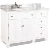 Compton Vanity with Cream Marble Top & Sink, White, 48''W x 23''D x 35''H