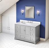 48'' W Grey Addington Single Bowl Vanity Base with White Carrara Marble Countertop and Undermount Rectangle Bowl, 49'' W x 22'' D x 36'' H