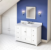 48'' W White Addington Single Bowl Vanity Base with White Carrara Marble Countertop and Undermount Rectangle Bowl, 49'' W x 22'' D x 36'' H
