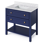 36'' W Hale Blue Adler Single Bowl Vanity Base with White Carrara Marble Countertop and Undermount Rectangle Bowl, 37'' W x 22'' D x 36'' H