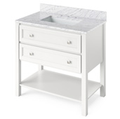 36'' W White Adler Single Bowl Vanity Base with White Carrara Marble Countertop and Undermount Rectangle Bowl, 37'' W x 22'' D x 36'' H