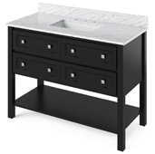 48'' W Black Adler Single Bowl Vanity Base with White Carrara Marble Countertop and Undermount Rectangle Bowl, 49'' W x 22'' D x 36'' H